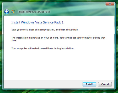 Install Windows Vista Service Pack 1 Install