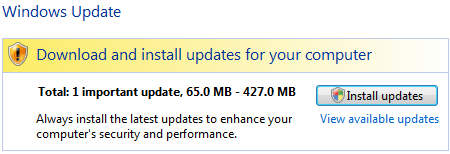 Windows Update available Vista SP1