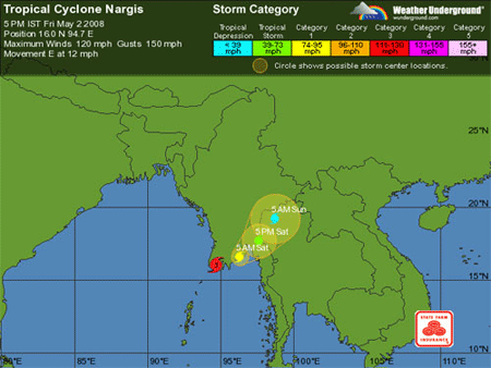 nargis cyclone map