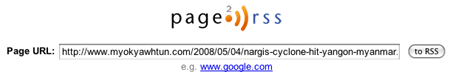 Page2RSS - Create an RSS feed for any web page